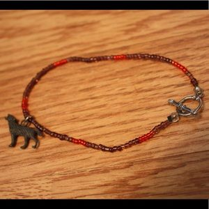 Beaded Ankle Bracelet with Wolf charm